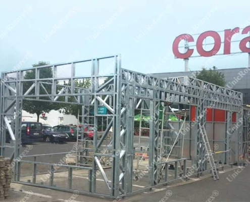 Steel structure for fast food kiosk