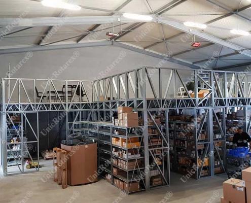 steel structure for mezzanine inside industrial building