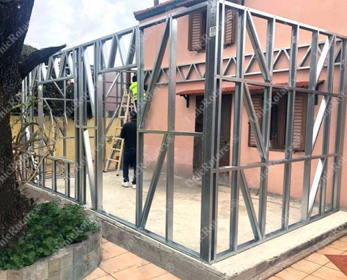 steel structure for house extension in Rhodos