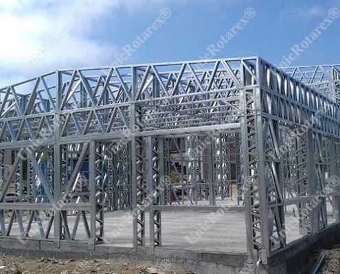 Industrial building with light steel structure