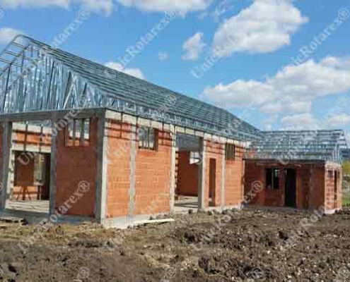 steel structure for roof over brick house