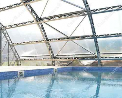 swimming pool roof with light steel structure