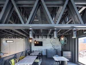 Steel structure restaurant with airplane parts
