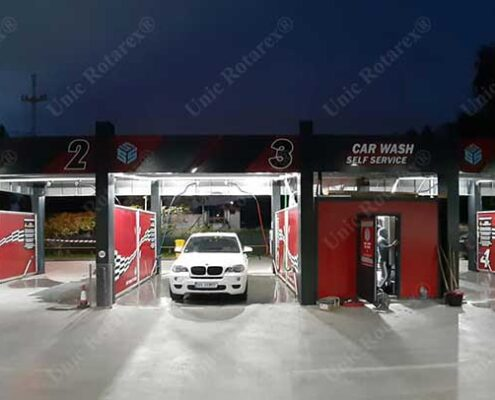 Self service carwash with steel structure