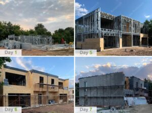 Steel framing for duplex house in Belgium