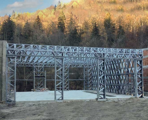 Steel structure for hybrid buses garage