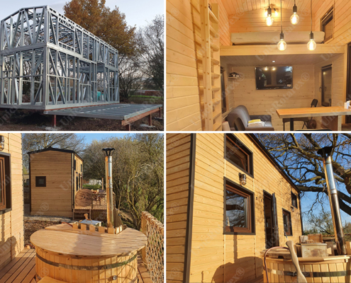 Tiny house with lightweight steel structure