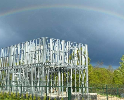 Steel house and rainbow